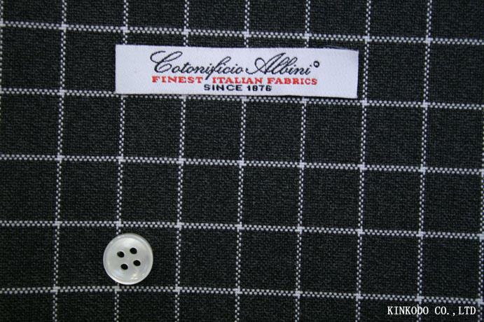 グレーベースにシンプルな白のチェック イタリア ALBINI アルビニ社製 綿100%