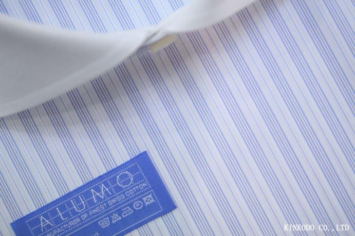 繊細なブルーにドビーストライプ生地 170番手双糸 アルモ社製 綿100%