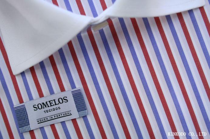 ブルーとレッドのストライプ生地  Someros(ソメロス)社製生地 ポルトガル 綿100%