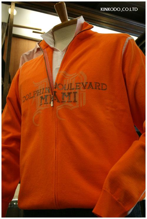 I ROCCHIジップアップセーター、オレンジ