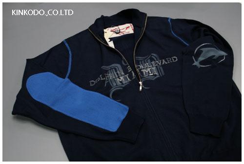 I ROCCHIジップアップセーター、ブルー