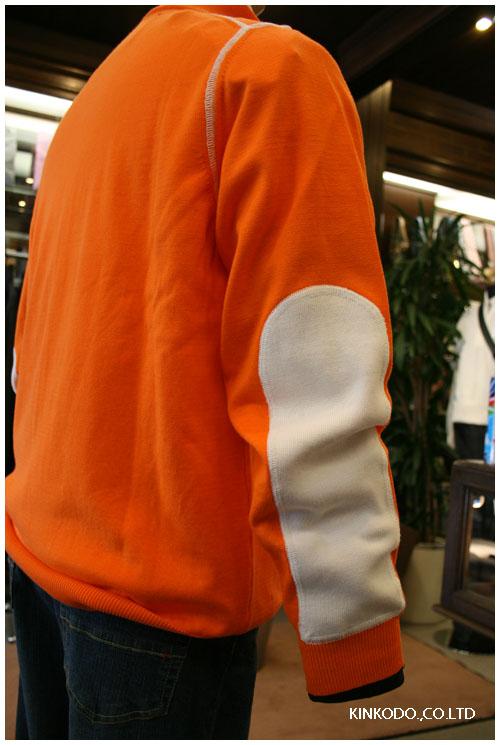 I ROCCHIジップアップセーター、オレンジ袖口