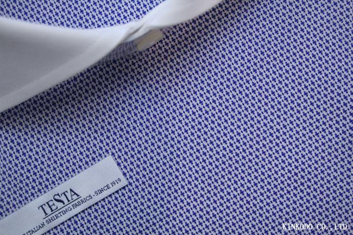 立体感ある変わり織りネイビー生地 イタリア テスタ TESTA社製 綿100%