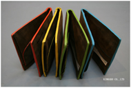 イタリー製ヌバック(革)素材の薄型二つ折り財布
