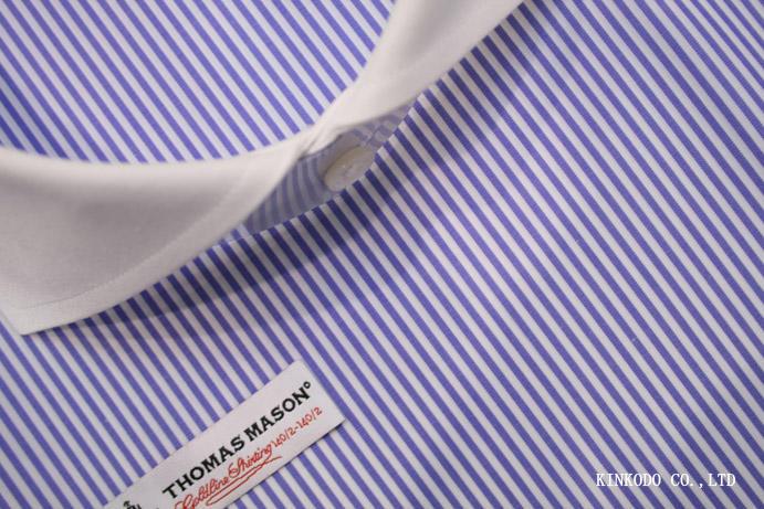 トーマスメイソン最高級番手定番ブルーロンドンストライプ 140番手ゴールドライン イタリア・トーマスメイソン社製 綿100%<br />