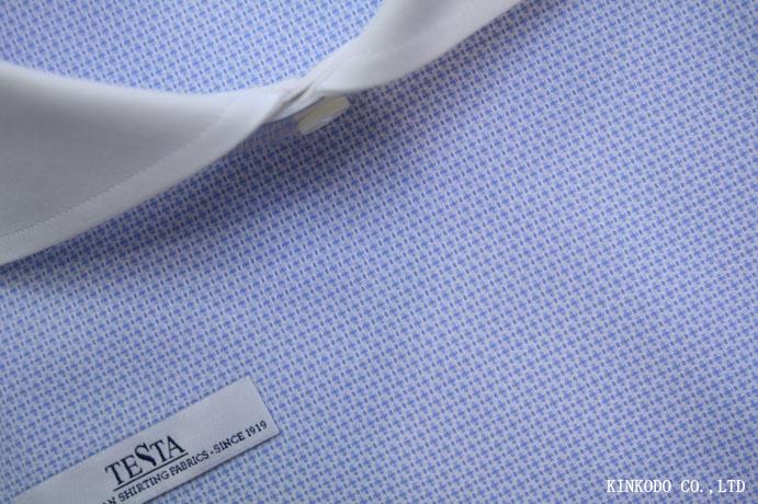 立体感ある変わり織りライトブルー生地 イタリア テスタ TESTA社製 綿100%