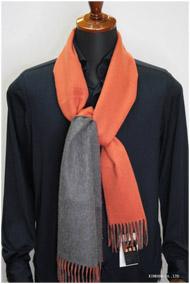 カシミヤリバーシブルストール・マフラー Johnstonsジョンストンズ Grey/Orange(グレイ・オレンジ)