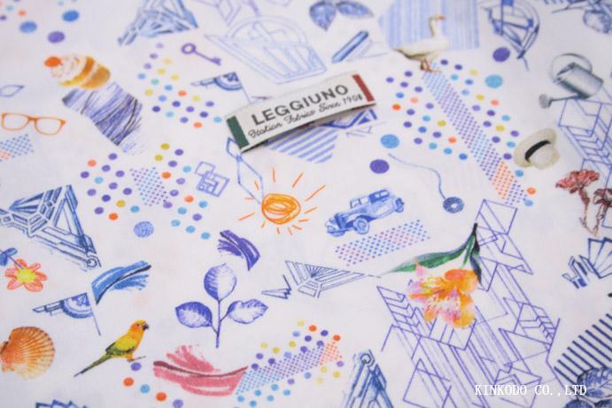 宝島を描いたプリント生地 イタリア・レジウノ LEGGIUNO社製生地